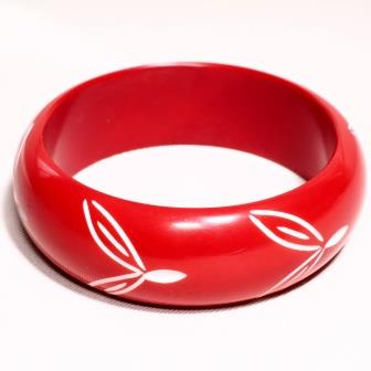 Red Carved Bangle