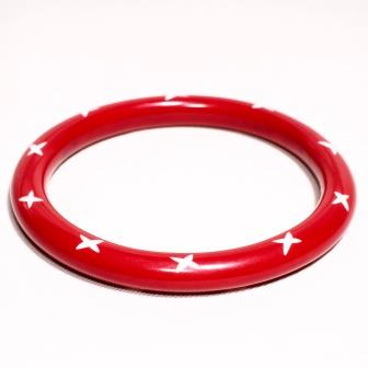 Narrow Red Carved Bangle