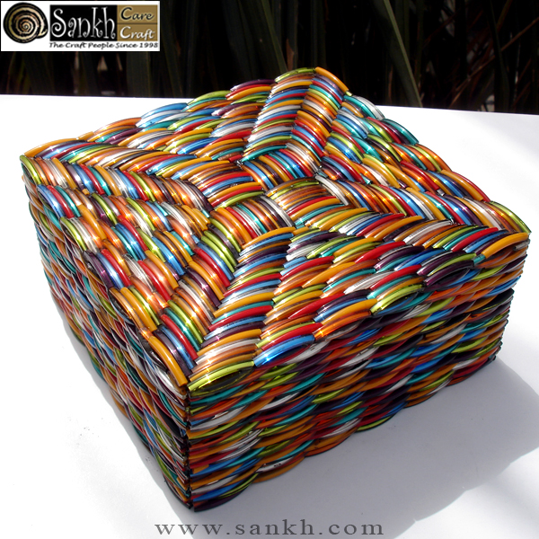 Multicolored Recycled Bangles Jeweled BoxesGlitter Jewelry Box