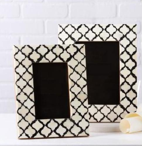 Black & White Bone, MDF Bone Inlay Photo Frame Set of 2 Size 4x6 ...