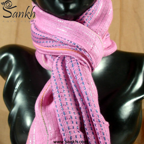 Lurex & Striped Style Women's Scarf