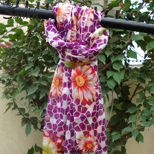 Silk Wool Flower print Scarves