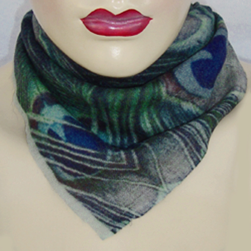 Peacock Green Wool Silk Neck Scarf