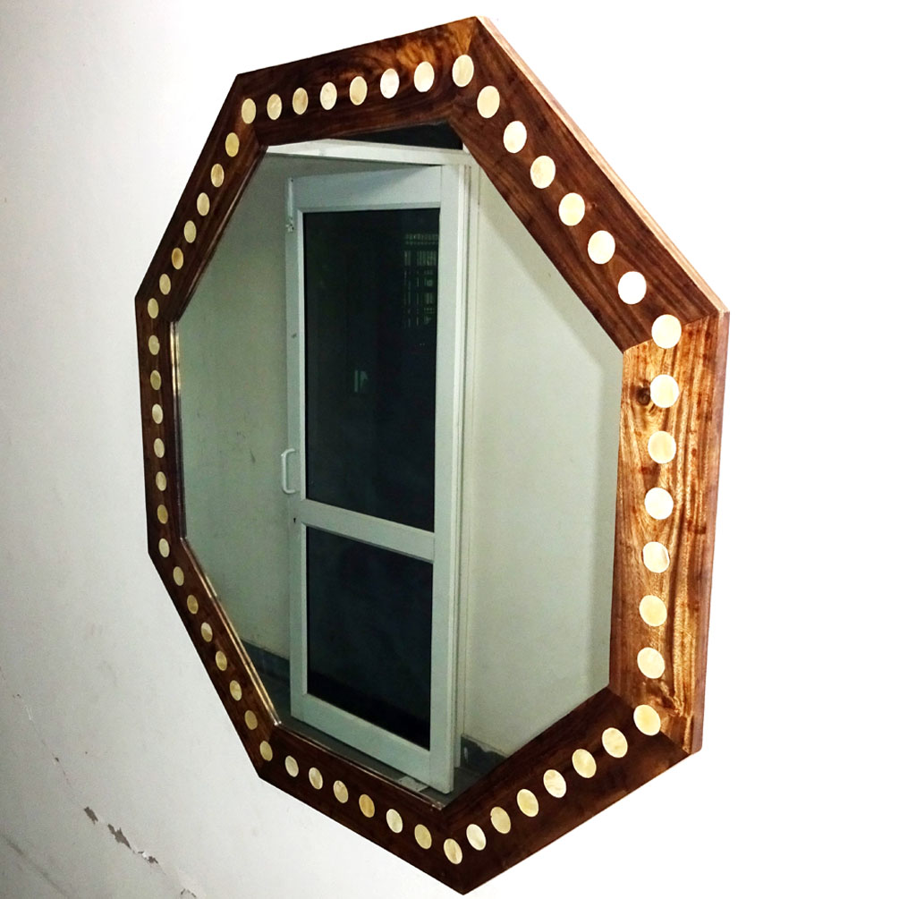 42x42x3 5 Inch Natural Brown Wood Octagon Shape Mirror With White Bone Circle Without