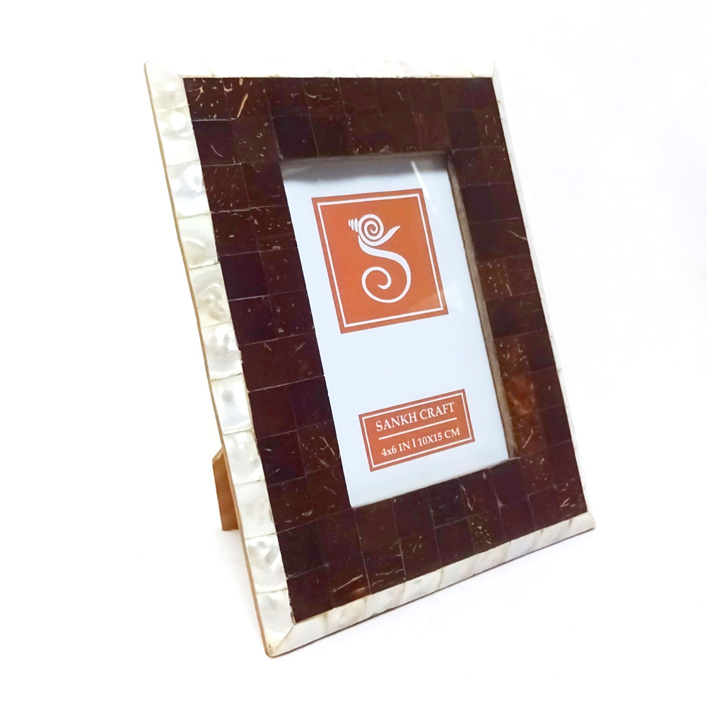 Brown, Off white MDF, Resin Resin Inlay Photo Frame Sankh 4 By 6 ...