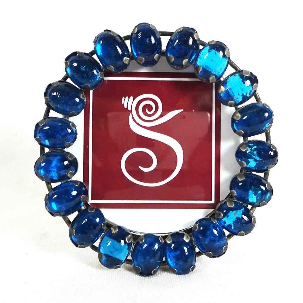 Navy Blue Glass beaded, Metal Hand Work 3x3 Inch Sankh Blue Saphire ...