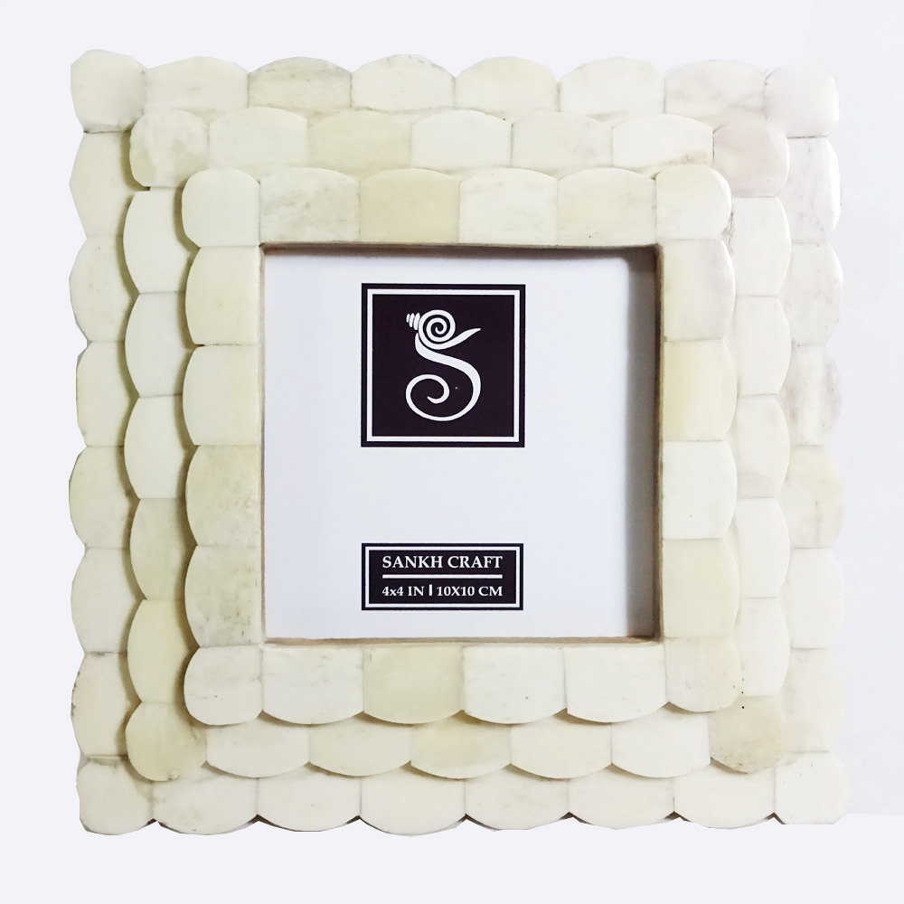 Off white Bone, MDF Bone Inlay Photo Frame Sankh 4x4 Inch Bone Photo ...