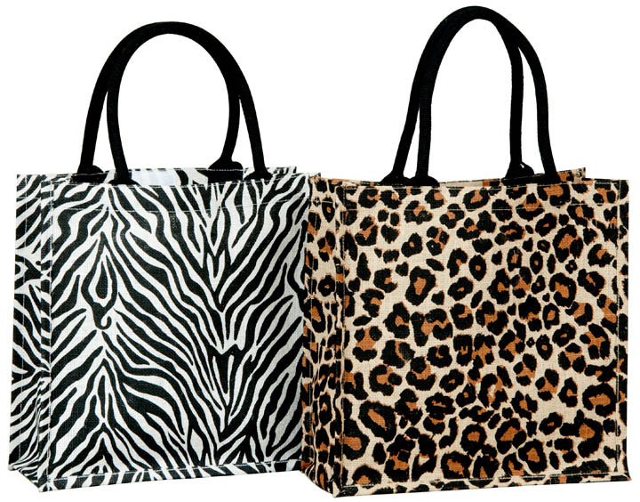 16x6x18 Inch Jute Animal Print Bags With Padded Handle Bag Printed Fashion Pers
